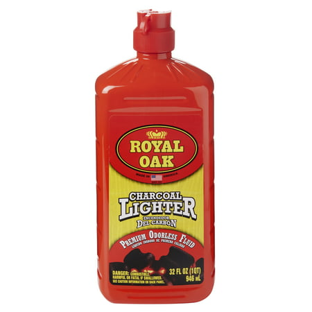 Royal Oak Charcoal Lighter Fluid, Premium Odorless Lighter Fuel, 32 Oz Start up the grill quick and easy with Royal Oak Charcoal Lighter Fluid. Our premium odorless blend is perfect for charcoal barbecue grills and smokers. The lighter fluid is specially made to meet all environmental requirements and has a convenient, easy-pour spout for no mess. The fluid is clean, clear and double-filtered to give you a performance you can count on for traditional charcoal, lump charcoal, briquettes, and all natural hardwood charcoal. Be a grill master with Royal Oak Lighter Fluid and the whole line of Royal Oak products.