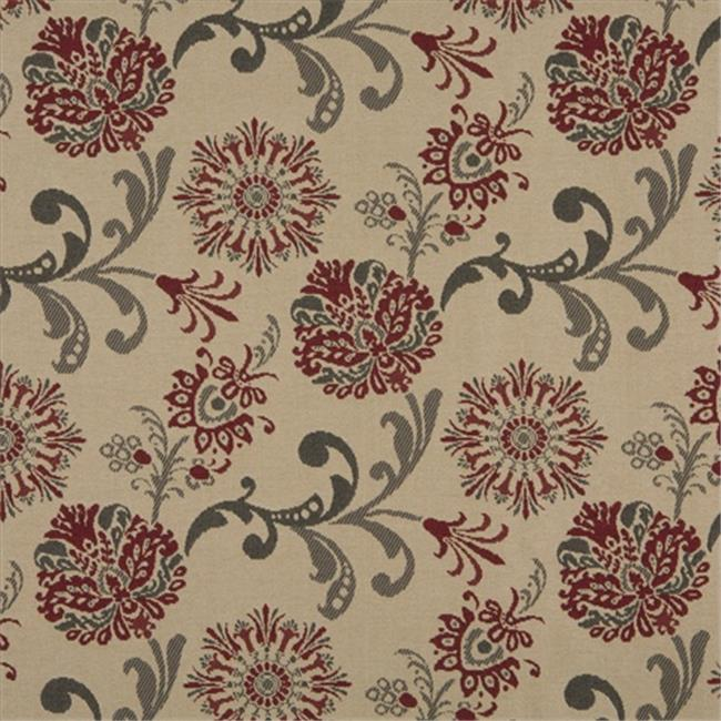 Designer Fabrics K0120A 54 in. Wide Red, Gray And Beige Floral Foliage Woven Solution Dyed Indoor & Outdoor Upholstery Fabric