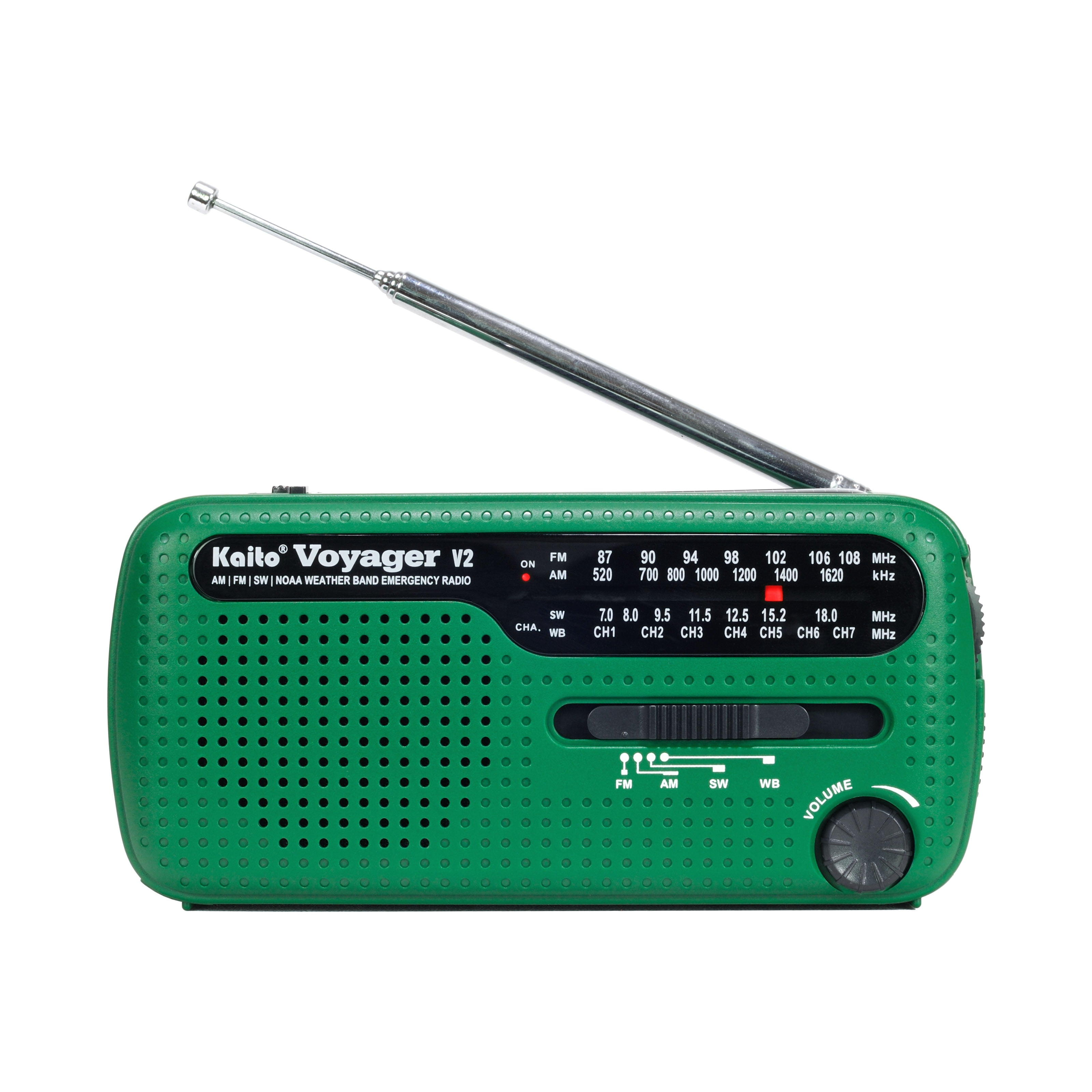 Kaito Voyager V2 AM FM Shortwave Weather Emergency Radio with Solar and Crank Green by Kaito