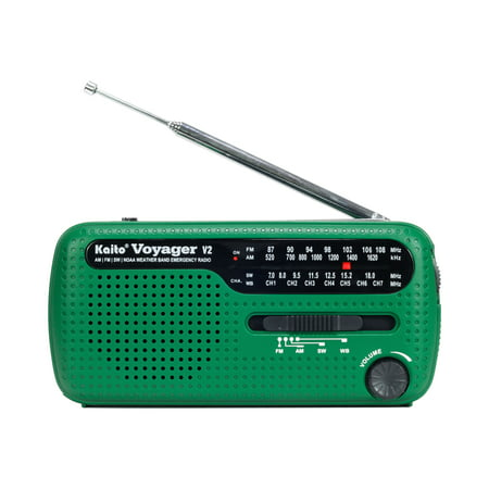 Kaito Voyager V2 AM FM Shortwave Weather Emergency Radio with Solar and Crank -