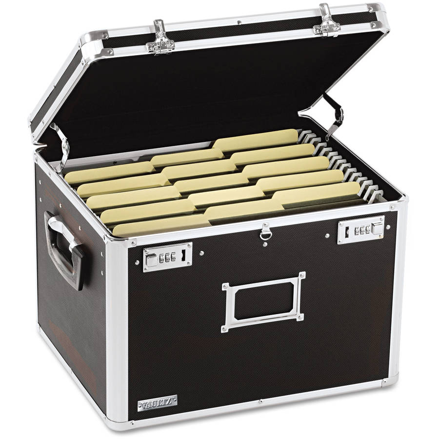 Vaultz Locking File Chest Storage Box, Letter/Legal, Black