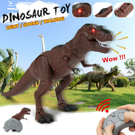 Remote Control Tyrannosaurus Rex Dinosaur Electronic RC Toy w/ Shaking Head, Walking Movement, Light Up Eyes and Sounds - Dino Rex