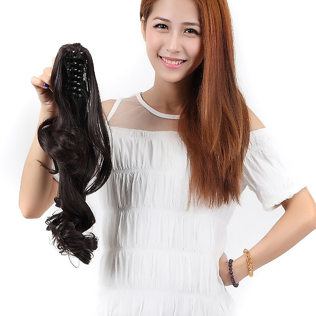 "S-noilite 18"" Long Curly Claw Jaw Ponytail Hair Extension (4A-Dark Brown)"