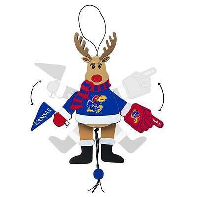 Topperscot by Boelter Brands NCAA Wooden Cheering Reindeer Ornament, University of Kansas Jayhawks ()