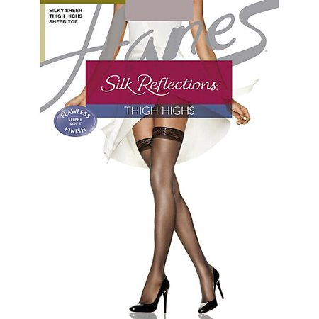 - Hanes Silk Reflections  Thigh Highs, Reinforced Toe  3-Pack