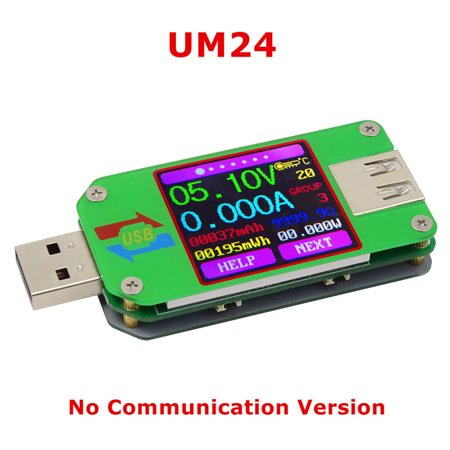 UM24 UM24C USB 2.0 Power Meter Tester USB Multimeter Color LCD Display Voltage Current Meter Voltmeter Amperimetro Battery Charge Measure Cable Resistance with (Multi Function Cable Tester)