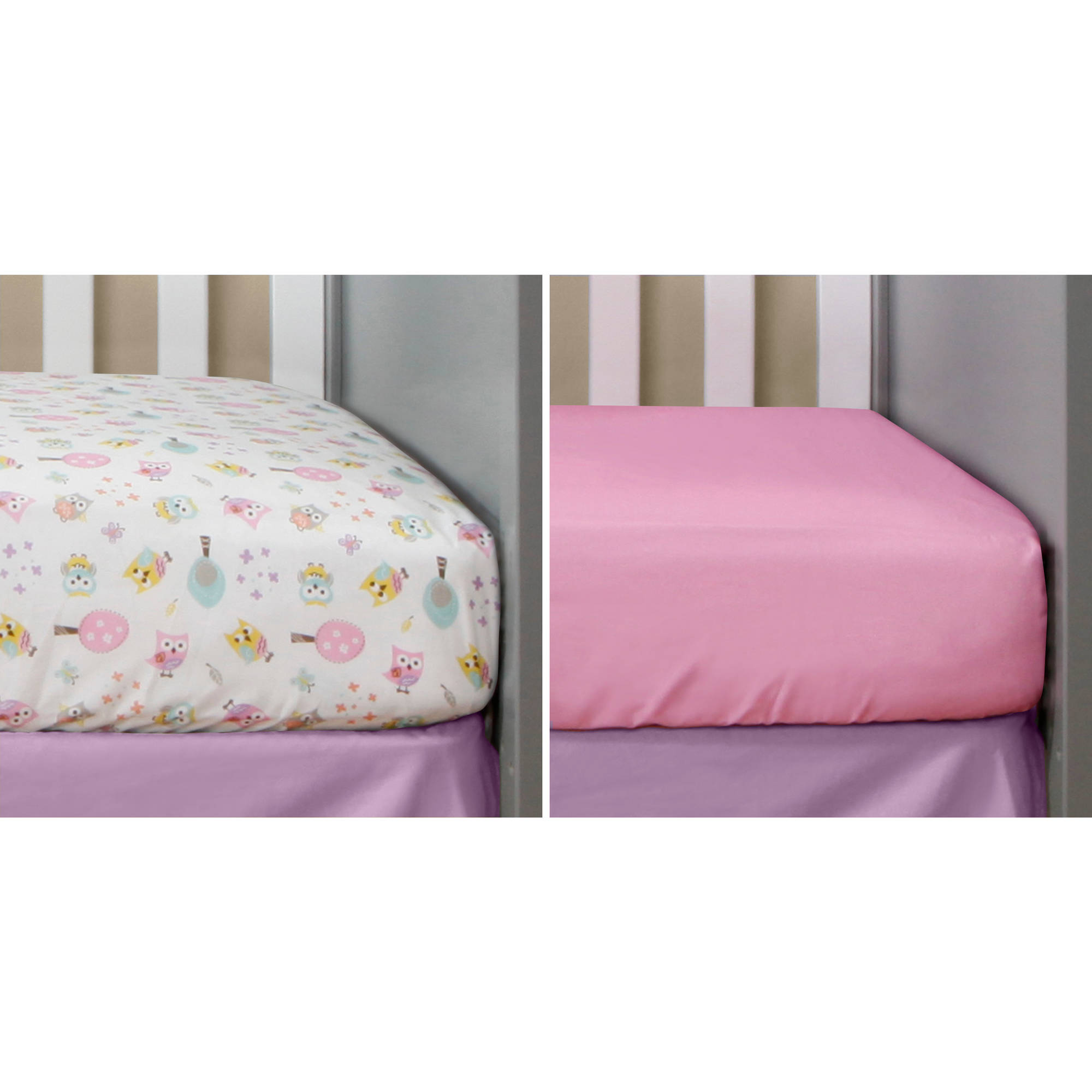 Bananafish Studio Sweet Owl Girl Set of 2 Crib Sheets, Zigzag/Pink Geo Print