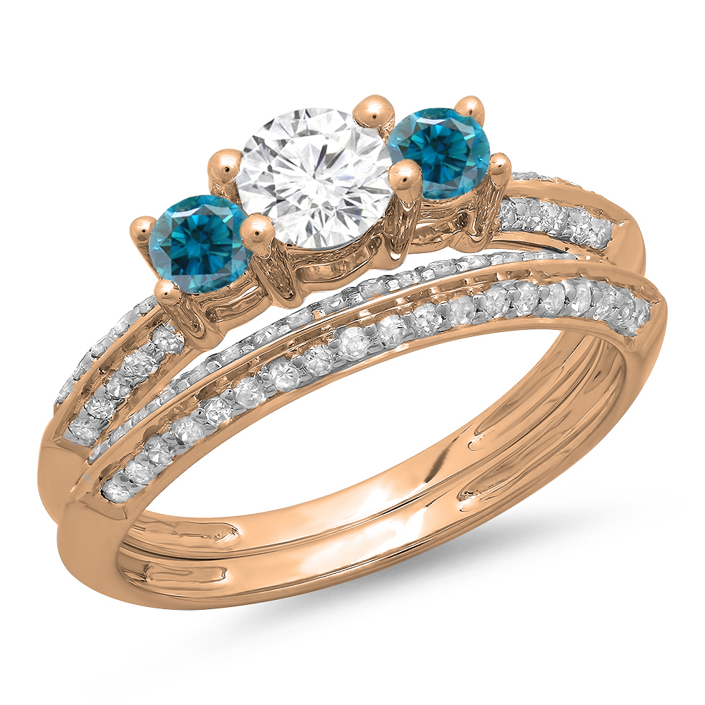 1.05 Carat (ctw) 10K Rose Gold Round Cut Blue & White Diamond Ladies 3 Stone Bridal Engagement Ring With Matching Band S
