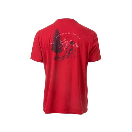 - Coleman Mens Size Large Short Sleeve Chest Pocket Garment-Dyed Tee, Red