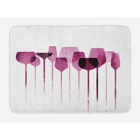 Purell Non Alcohol (Wine Bath Mat, Conceptual Collage Artwork with Paper Textured Party Glasses Alcohol Drink Print, Non-Slip Plush Mat Bathroom Kitchen Laundry Room Decor, 29.5 X 17.5 Inches, Fuchsia Purple,)