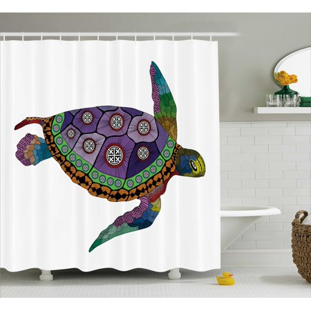 Psychedelic Shower Curtain, Sea Turtle with Colorful Ornamental Style Tattoos on Animal Art Work, Fabric Bathroom Set with Hooks, Purple Orange Pink, by Ambesonne - Sea Tattoo
