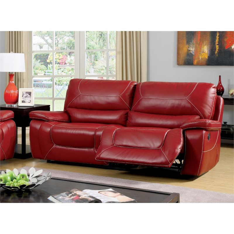 Bowery Hill Leather Reclining Sofa in Red