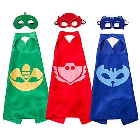 Superhero Masks Costumes and Dress up For Kids Superhero Catboy Owlette Gekko Capes and Masks 3PCS (Kids Superheroes)