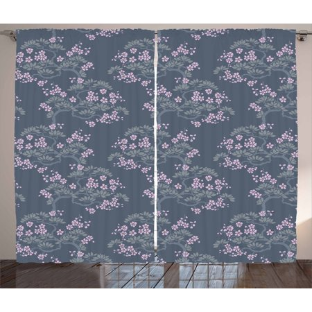 Leaf Curtains 2 Panels Set, Abstract Artful Japanese Plum Blossoms Asian Nature Garden Flora Theme, Window Drapes for Living Room Bedroom, 108W X 63L Inches, Bluegrey Pale Pink Sage, by Ambesonne