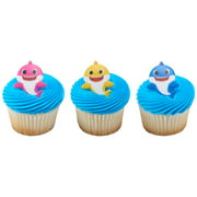 24 Baby Shark Mommy, Daddy, and Baby Cupcake Rings Cake Decoration Party Supplies