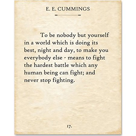 E.E. Cummings - To Be Nobody - 11x14 Unframed Typography Book Page Print - Great Gift for Book