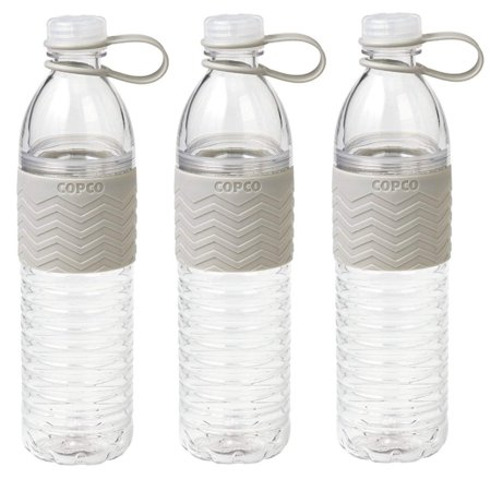 3 Pack Copco Hydra Sports Water Bottle With Non Slip Sleeve - Spill Resistant, BPA Free Plastic, Reusable 20 Oz - Gray 3 Pack Sport Slip
