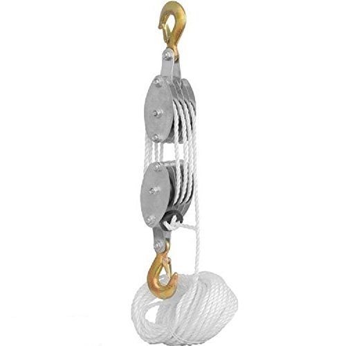 2 Ton Rope Hoist Pulley Wheel Block and Tackle 4,000lb Wi...