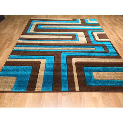 Rug Tycoon Hand Carved Blue Brown Area Rug Walmart Com