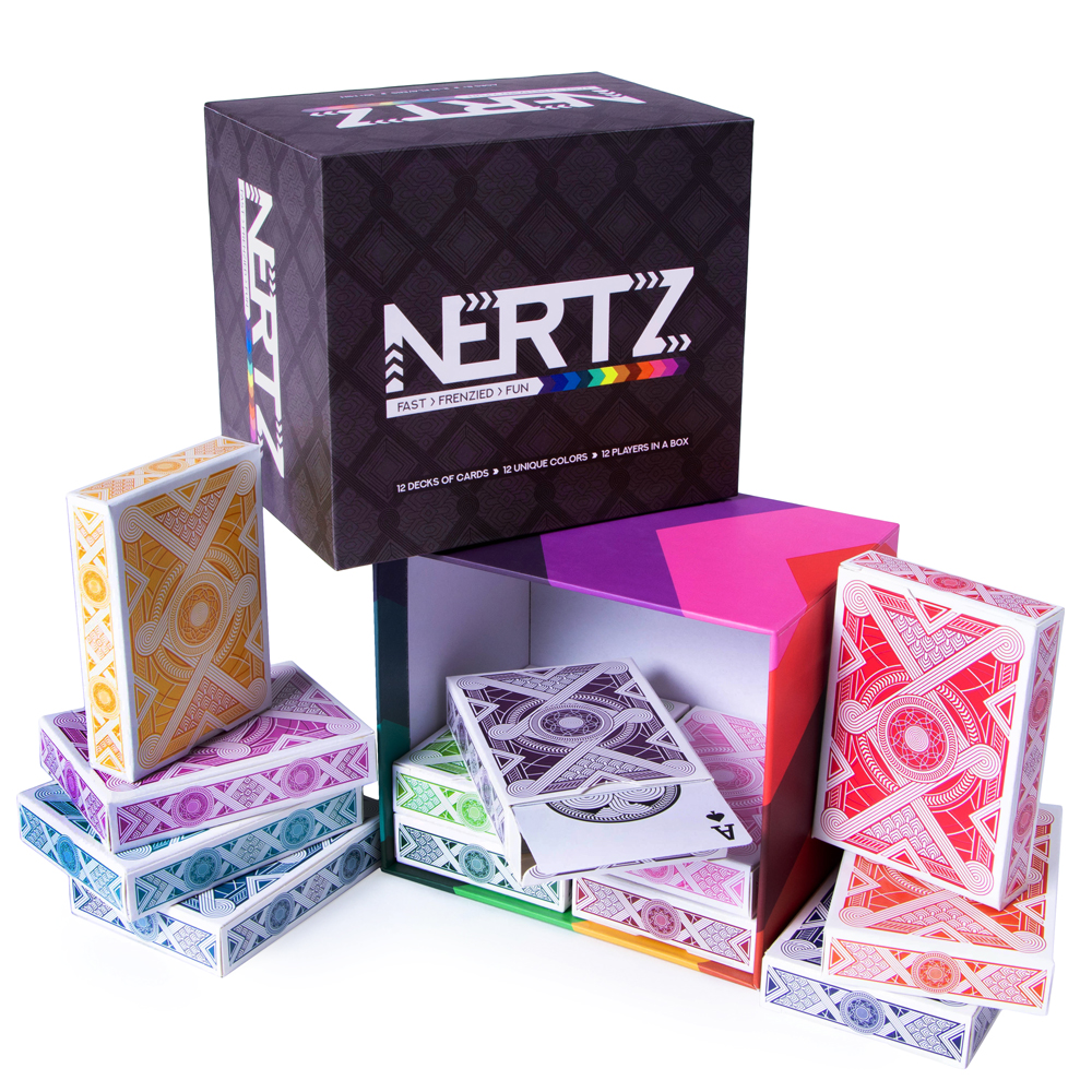 Nertz: The Fast Frenzied Fun Card Game - 12 Decks of Playing Cards in 12 Vibrant Colors, Bulk Set of Poker Wide-Size/Regular Index