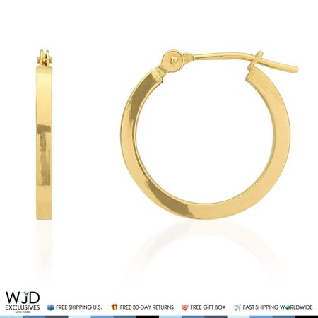16mm Diameter Plain Square Hoop Snap Closure Earrings 14K Solid Yellow Gold