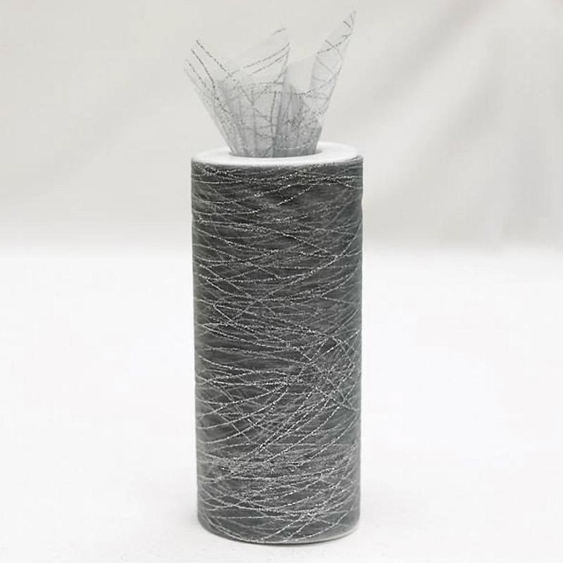"SILVER Sheer Glittered Organza Wedding Party Decorative Fabric Bolt - 6"" x 25 Yards"