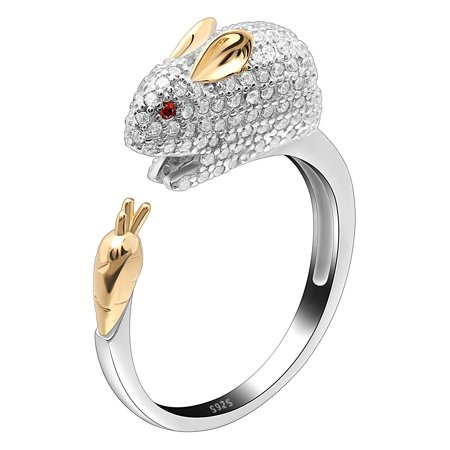 Ginger Lyne Collection Bunny Carrot Wrap Sterling Silver Ring CZ Two - Two Tone Collection