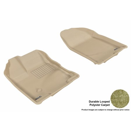 3D MAXpider 2007-2014 Ford Edge Front Row All Weather Floor Liners in Tan Carpet