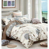 Swanson Beddings Daisy Silhouette Floral Print 3-Piece 100% Cotton Bedding Set: Duvet Cover and Two Pillow Shams (King)
