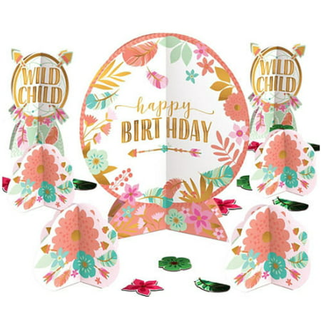 1st Birthday 'Boho Girl' Table Decorating Kit (27pc) - First Birthday Party Ideas Girl