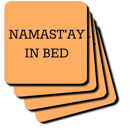 3dRose Namastay In Bed, Black Lettering On An Orange Background, Soft Coasters, set of 4 ()