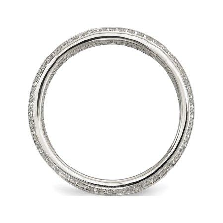 Sterling Silver Baguette & Round CZ Eternity Ring - image 1 de 3