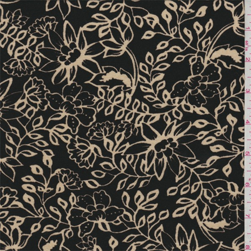 Black/Tan Floral Print Rayon Jersey Knit, Fabric By the Yard
