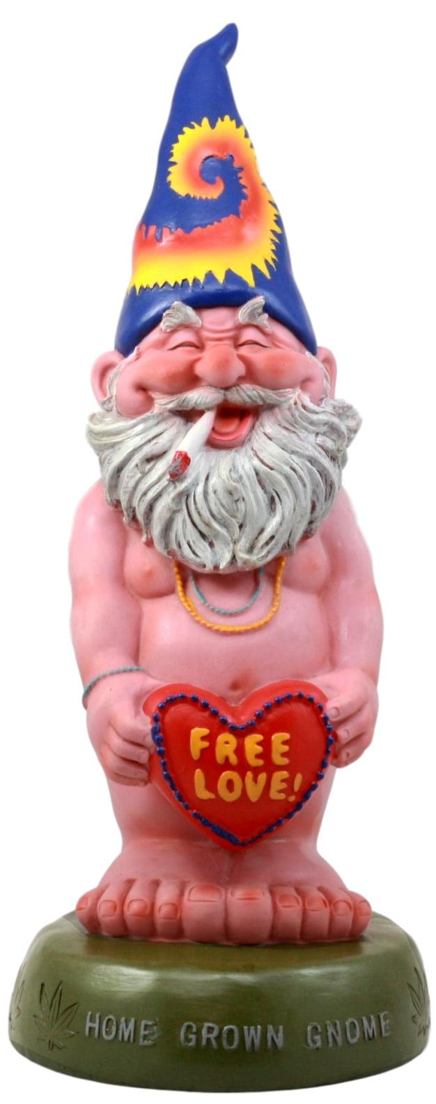 Ebros Free Spirited Smoking Naked Hippie Gnome Statue 13.5\