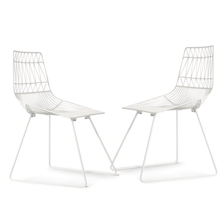 Poly and Bark Aspen Metal Dining Chair in White (Set of 2 ...