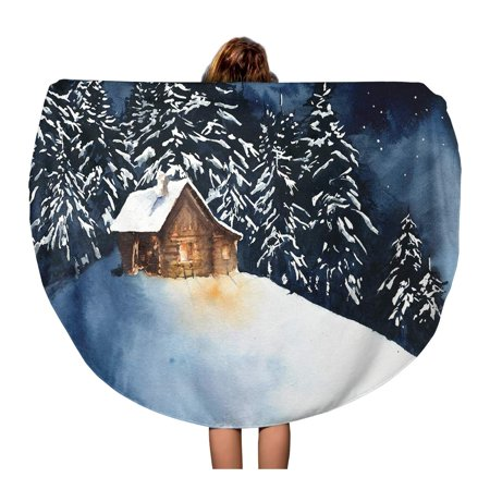 SIDONKU 60 inch Round Beach Towel Blanket Blue House Cabin in The Woods Forest Watercolor Painting Travel Circle Circular Towels Mat Tapestry Beach Throw - Painting Cabin In The Woods