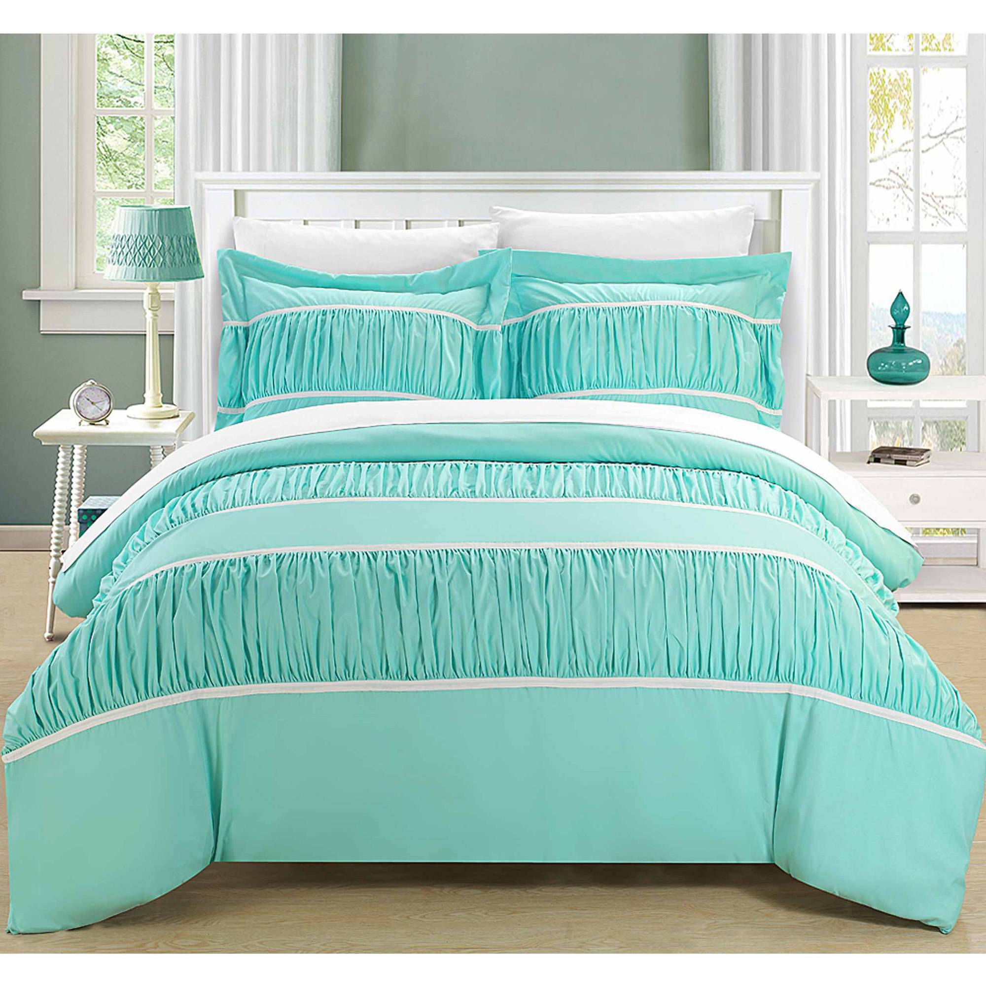 Chic Home Elizabeth 7-Piece Bedding Ruffled Duvet Cover Set