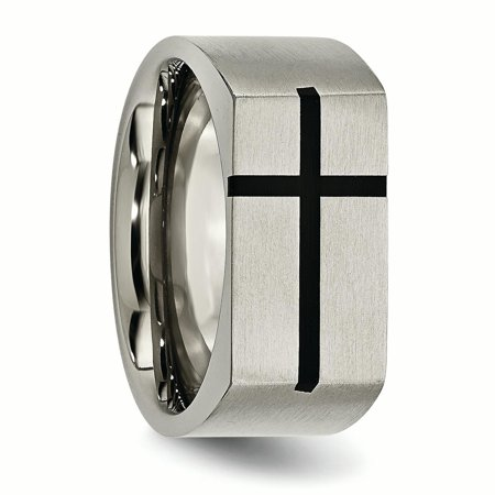 Titanium 10mm Black Enamel Cross Religious Brushed Wedding Ring Band Size 10.00 Designed Fashion Jewelry For Women Valentines Day Gifts For Her - image 10 de 11