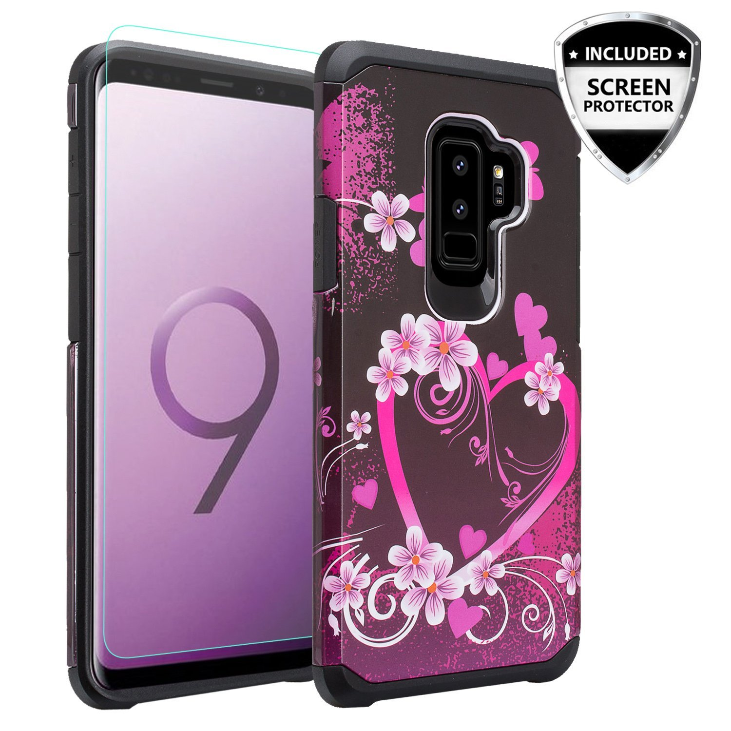 Samsung Galaxy S9 Case, SM-G960 Slim [Dual Layer] Hybrid Shock Proof Phone Cover - Heart Butterflies