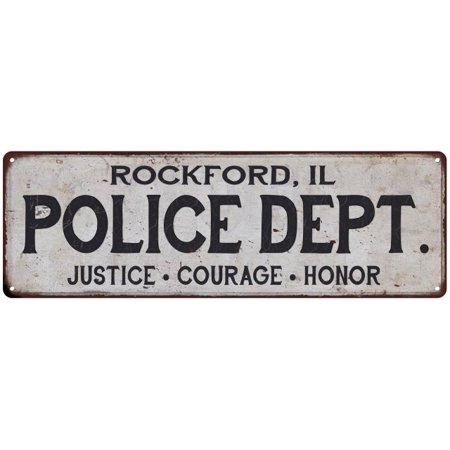 ROCKFORD, IL POLICE DEPT. Home Decor Metal Sign Gift 6x18 106180012165 (Party City Rockford Il)
