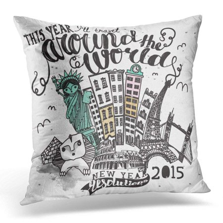 ARHOME Vintage Travel Around the World Advertisement with Hand Lettering and Famous Landmarks Including Statue Pillows case 18x18 Inches Home Decor sofa Cushion cover (Landmarks Around The World)