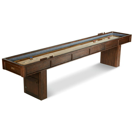 Barrington 12 ft. Webster Shuffleboard Table, Accessories: 8 shuffleboard pucks, 1 can of powder, brown/tan