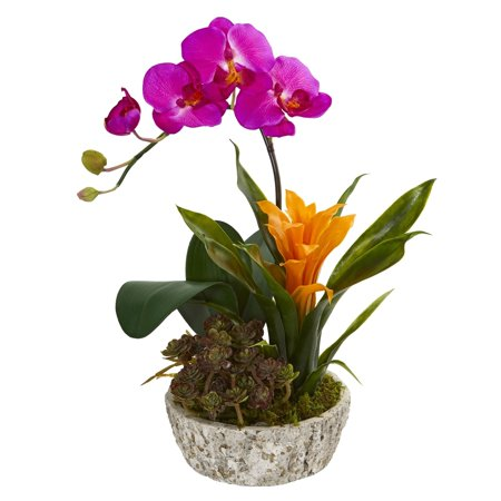 Christmas Succulent Arrangement.Nearly Natural Orchid Bromeliad And Succulent Artificial Arrangement In Planter