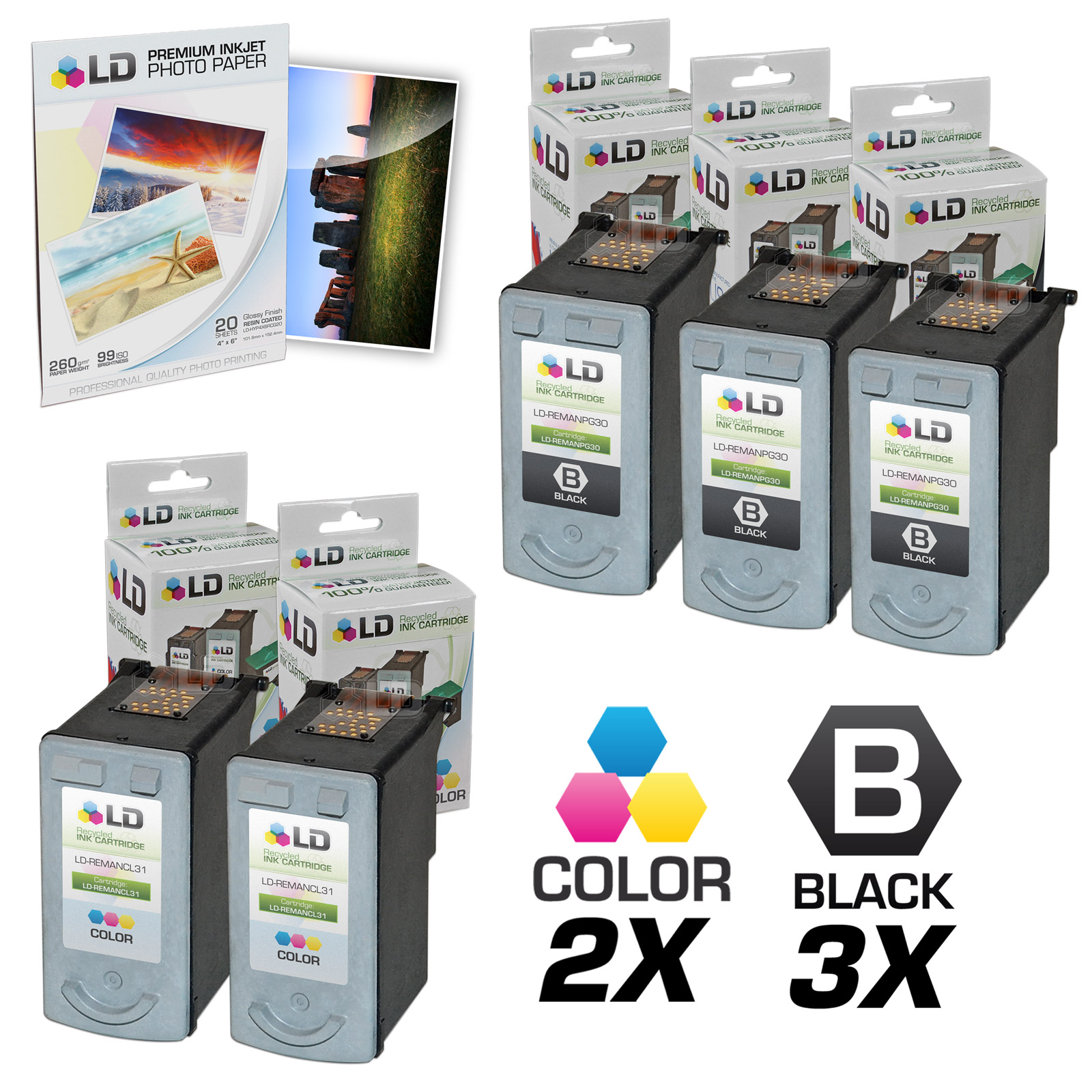 LD Remanufactured Canon #PG-30 & #CL-31 Combo Set - 3 Black #PG-30 and 2 Color #CL-31 & Free 20 Pack of LD Brand 4x6