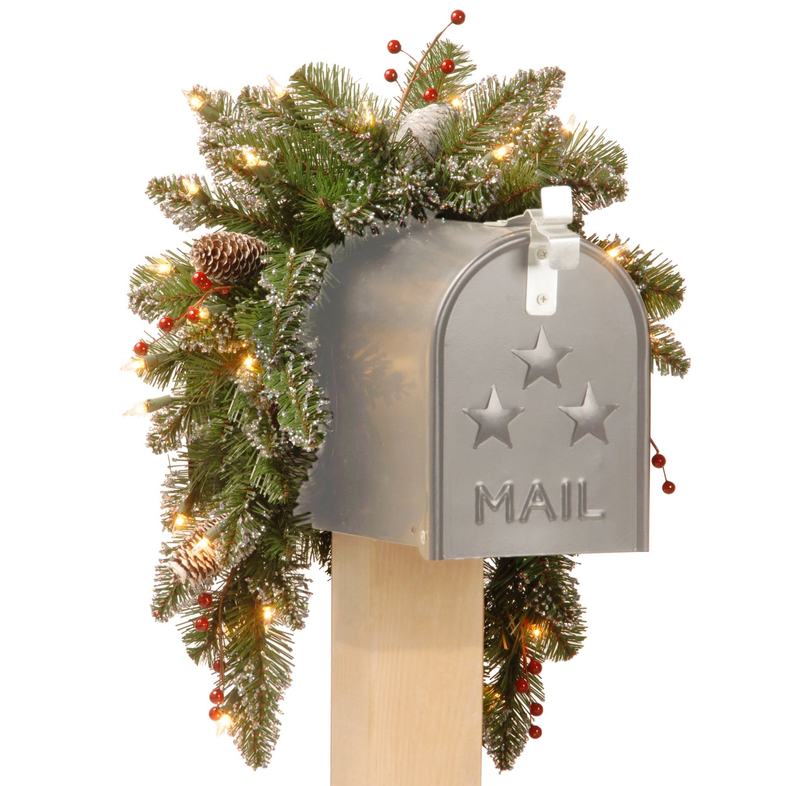 National Tree 3' Glittery Mountain Spruce Mailbox Swag with White Edged Cones, Red Berries and 35 Warm White Battery Operated LEDs with Timer