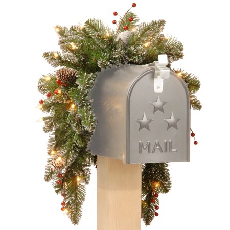 National Tree 3' Glittery Mountain Spruce Mailbox Swag with White Edged Cones, Red Berries and 35 Warm White Battery Operated LEDs with Timer - Tree Boxes