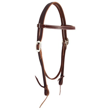 Headstall Tie Ends - Horse Western Tack Browband Stitched Latigo Leather Headstall w/ Tie Ends 78189