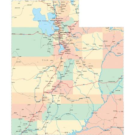 Laminated Poster Utah State Road Map City County Salt Lake Ut Poster Print 24 x