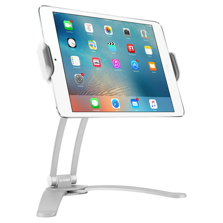 Desktop and Wall Holder Mount with 360 Degree Rotation for Apple iPad Pro 10.5, Pro 9.7, IPad Mini 4, Samsung Galaxy Tab S3, Amazon Fire HD and More - White - by