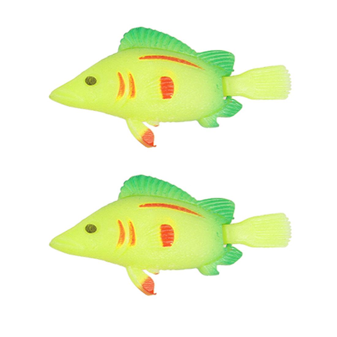 Unique Bargains 2 Pcs Aquarium Water Floating Swing Tail Fake Fish Yellow